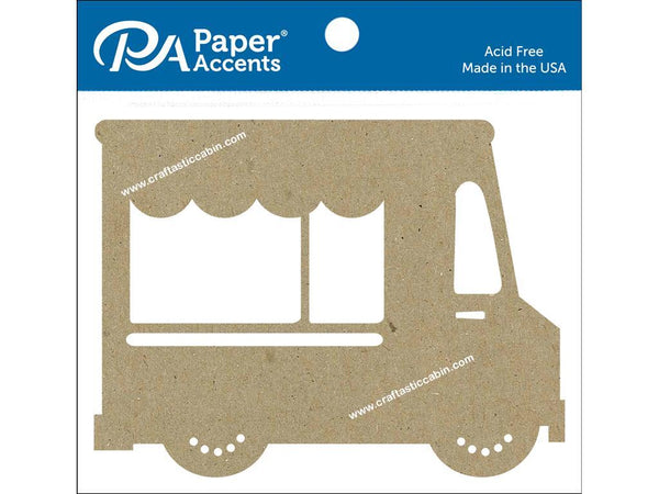 Paper Accents Chip Shape Food Truck Natural 4pc - Craftastic Cabin Inc