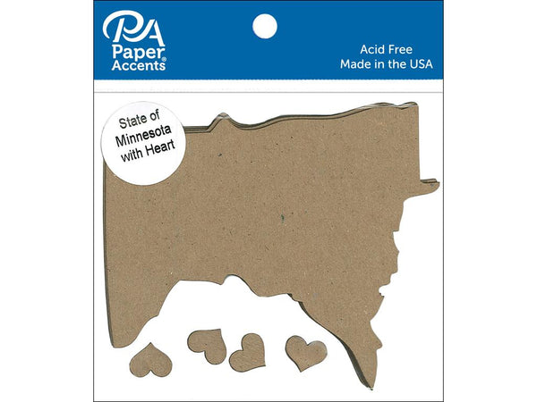Paper Accents Chip Shape State of Minnesota Silhouette with Heart Natural 4pc | Craftastic Cabin Inc