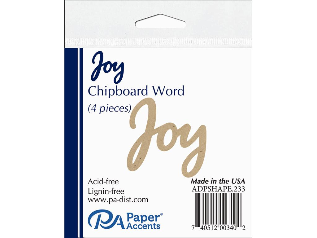 Paper Accents Chipboard Shape Word Joy Natural 4pc