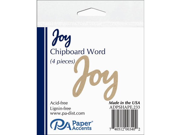 Paper Accents Chipboard Shape Word Joy Natural 4pc | Craftastic Cabin Inc
