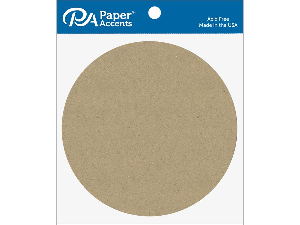 "Paper Accents Chip Shape 7.5"" Circle Natural 5pc"