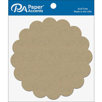 "Paper Accents Chip Shape 7.5"" Scalloped Circle Natural 5pc"