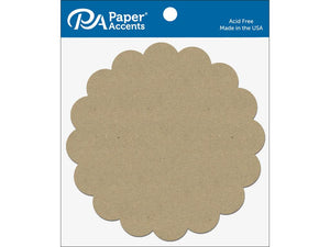 "Paper Accents Chip Shape 7.5"" Scalloped Circle Natural 5pc 