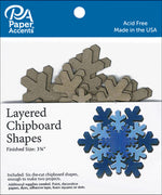 Paper Accents Chipboard Shape Christmas Layered Snowflake 6pc