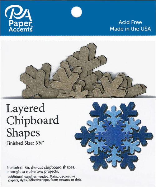 Paper Accents Chipboard Shape Christmas Layered Snowflake 6pc - Craftastic Cabin Inc