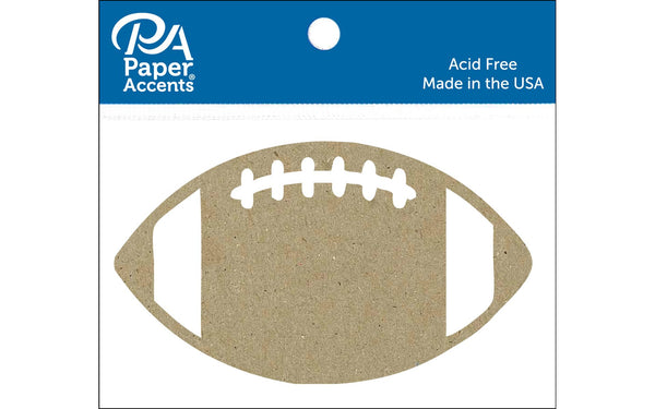 Paper Accents Chip Shape Football Natural 6pc | Craftastic Cabin Inc