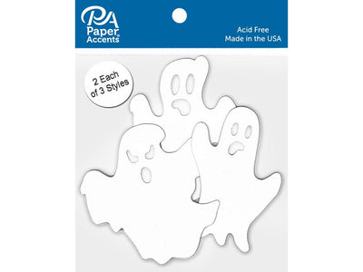 Paper Accents Chip Shape Ghosts White 6pc
