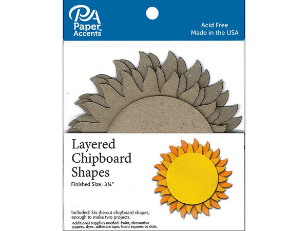 Paper Accents Chip Shape Layered Sun Natural 6pc | Craftastic Cabin Inc
