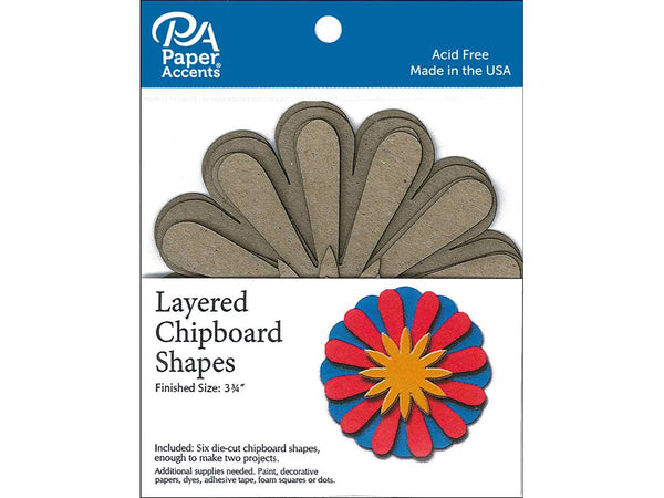 Paper Accents Chip Shape Layered Sunflower Natural 6pc | Craftastic Cabin Inc