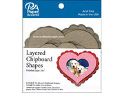 Paper Accents Chip Shape Layered Heart Natural 6pc