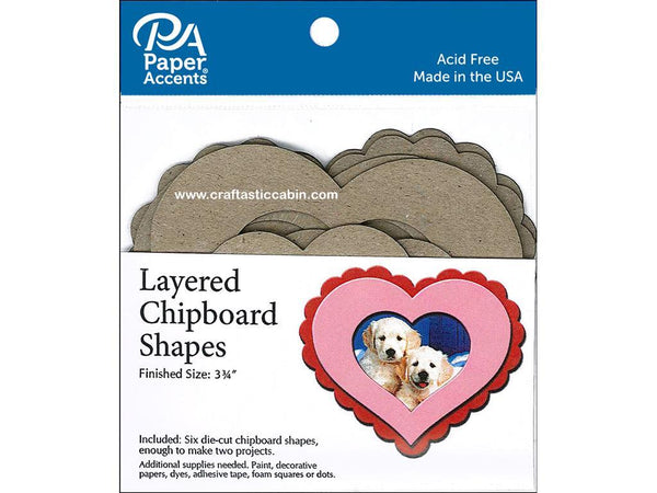 Paper Accents Chip Shape Layered Heart Natural 6pc | Craftastic Cabin Inc