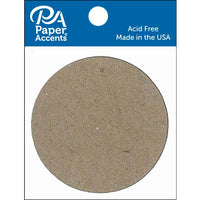 "Paper Accents Chip Shape Small 2"" Circle Natural 8pc"