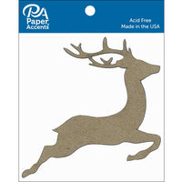 Paper Accents Chipboard Shape Reindeer Natural 8pc
