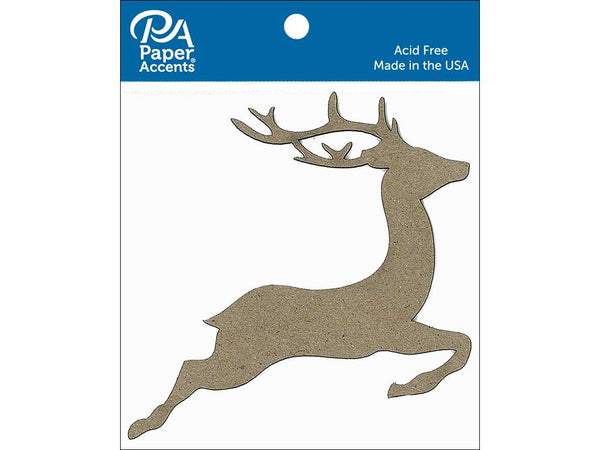Paper Accents Chipboard Shape Reindeer Natural 8pc - Craftastic Cabin Inc