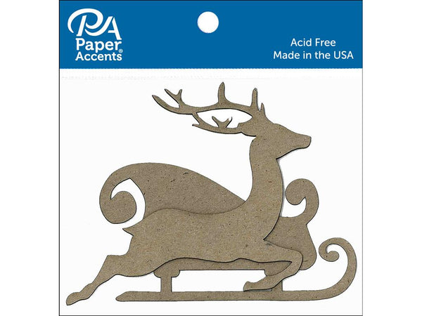 Paper Accents Chipboard Shape Sleigh with Reindeer Natural 8pc - Craftastic Cabin Inc