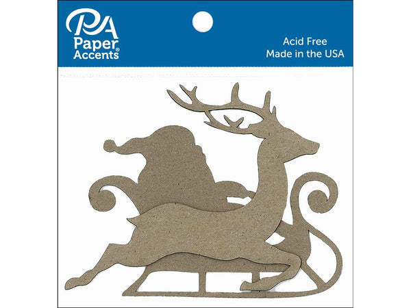 Paper Accents Chipboard Shape Sleigh with Santa & Reindeer Natural 8pc - Craftastic Cabin Inc