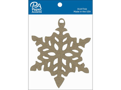 Paper Accents Chipboard Shape Ornament Snowflake Natural 6pc
