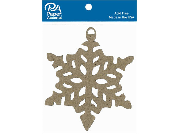 Paper Accents Chipboard Shape Ornament Snowflake Natural 6pc - Craftastic Cabin Inc