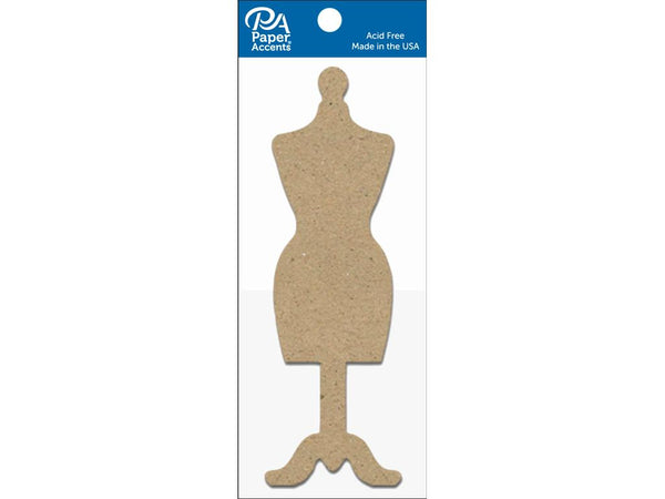 Paper Accents Chip Shape Dress Form Natural 8pc | Craftastic Cabin Inc