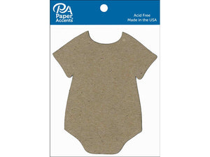 Paper Accents Chip Shape Onesie Natural 8pc | Craftastic Cabin Inc