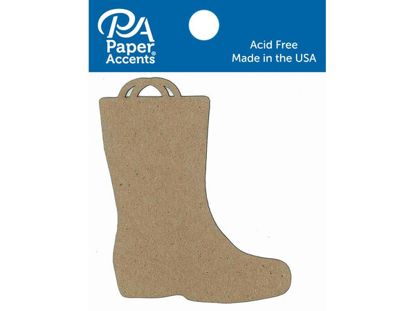 Paper Accents Chip Shape Rain Boot Natural 8pc - Craftastic Cabin Inc