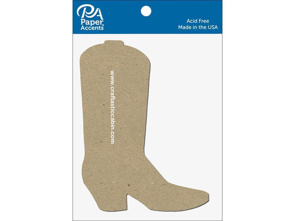 Paper Accents Chip Shape Cowboy Boot Natural 8pc | Craftastic Cabin Inc