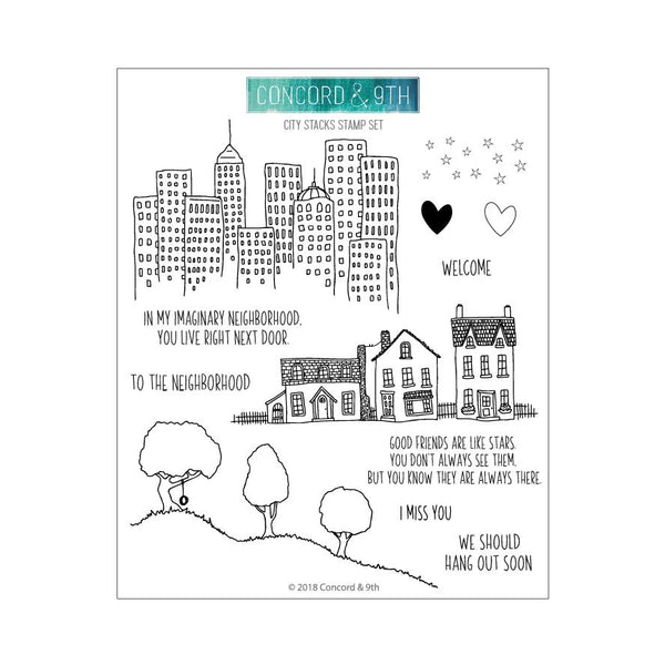 Concord & 9th Clear Stamps - CITY STACKS STAMP SET | Craftastic Cabin Inc