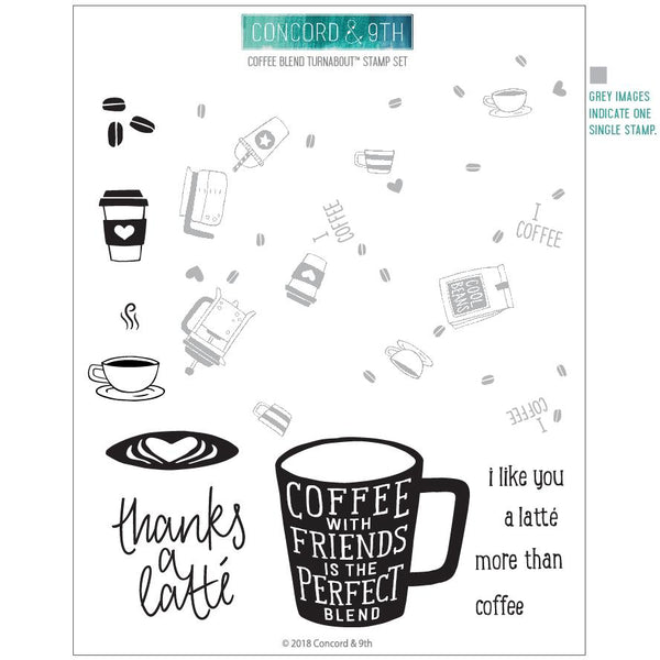 Concord & 9th Clear Stamps - COFFEE BLEND TURNABOUT™ STAMP SET - Craftastic Cabin Inc