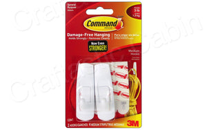 3M Command Adhesive Hook 2pc medium | Craftastic Cabin Inc