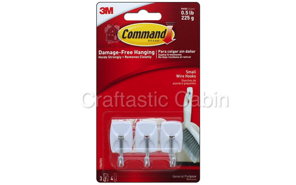3M Command Adhesive Wire Hook 3pc small | Craftastic Cabin Inc