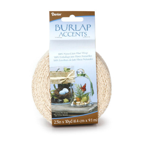 Darice® Natural Burlap Ribbon Ivory 2.5 inches x 10 yards - Craftastic Cabin Inc
