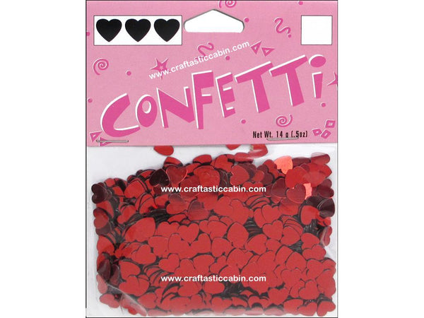Darice Confetti Pack 6mm Hearts Red .5oz | Craftastic Cabin Inc