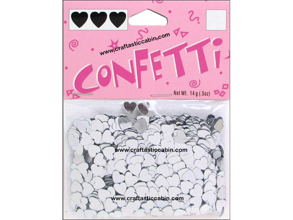 Darice Confetti Pack 6mm Hearts Silver .5oz | Craftastic Cabin Inc