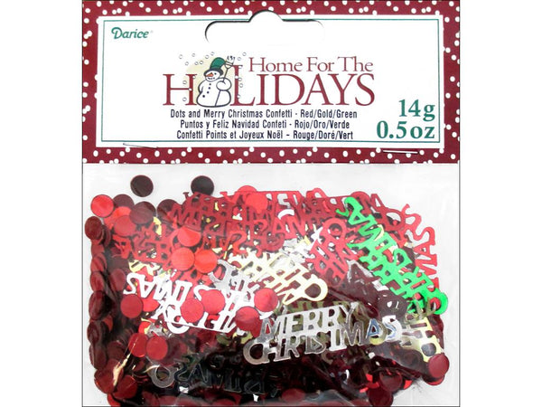 Darice Confetti Pack Holiday Merry Christmas .5oz | Craftastic Cabin Inc