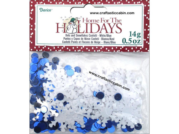 Darice Confetti Pack Holiday Snowflake Dots .5oz | Craftastic Cabin Inc