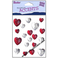 Darice Stick-On Assorted Heart-shaped Rhinestones, Red and Crystal