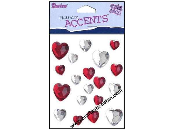 Darice Stick-On Assorted Heart-shaped Rhinestones, Red and Crystal | Craftastic Cabin Inc
