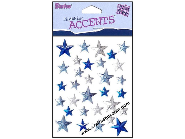 Darice Stick-On Rhinestones blue mix stars 31 pieces | Craftastic Cabin Inc