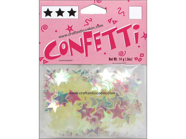 Darice Confetti Pack 11mm Stars Iridescent .5oz | Craftastic Cabin Inc