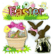 EK Success Jolee's Boutique® 3-D Stickers - Easter Chocolate Bunnies - 4 Pieces