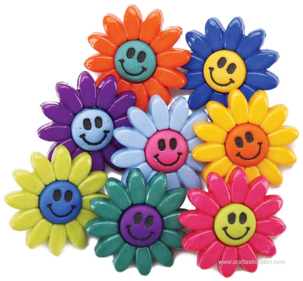 Jesse James Buttons Fun Smiley Flowers | Craftastic Cabin Inc