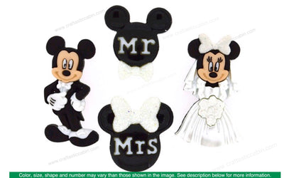 Jesse James Embellishments Mickey and Minnie Wedding Buttons
