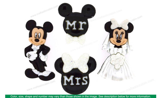 Jesse James Embellishments Mickey and Minnie Wedding Buttons | Craftastic Cabin Inc