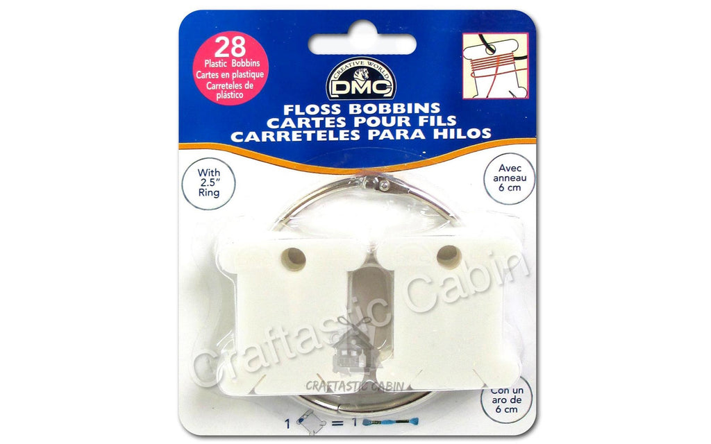 DMC Floss Bobbins Plastic 28pc WITH METAL RING