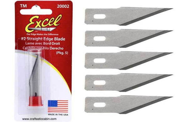 Excel™ Hobby Knife Blade Straight Edge 5pc - Craftastic Cabin Inc