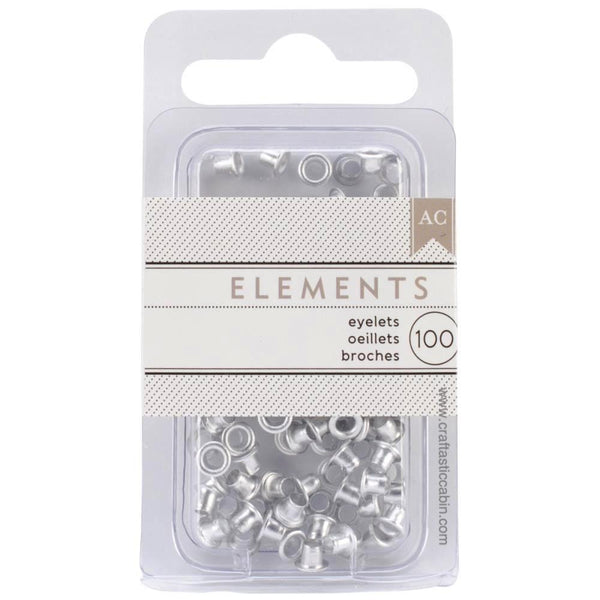 American Crafts Eyelets Elements Silver 100pc - Craftastic Cabin Inc