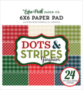 "Carta Bella Collection CHRISTMAS GINGHAM Paper Pad 6""x 6"""