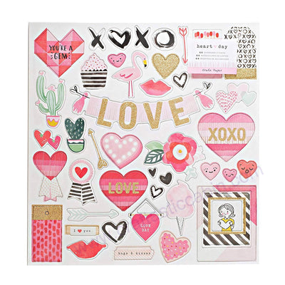 American Crafts Crate Paper Collection Heart Day Chipboard Glitter Gold