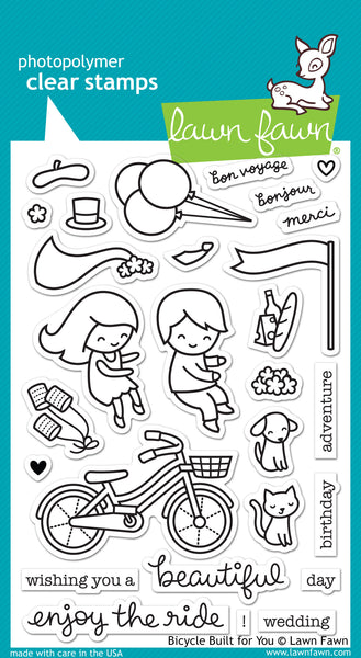 Lawn Fawn Bicycle Built For You Stamps | Craftastic Cabin Inc