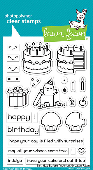 Lawn Fawn Birthday Before 'n Afters Stamps | Craftastic Cabin Inc